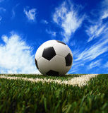 Soccer ball on grass background Stock Images