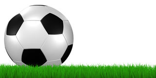 Soccer ball in grass - clipping. 3d render/illustration of a soccer ball in grass - clipping path included Stock Images