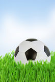 Soccer ball in grass close up Stock Images