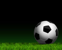 Soccer ball on grass close up. Close up a soccer ball on green grass Royalty Free Stock Photos