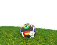 Soccer ball on grass with different flags. Soccer ball on grass with the different flags, 3d rendering Royalty Free Stock Photography