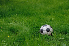 Soccer ball on the grass. Dirty soccer ball flew beyond the football field Stock Photography