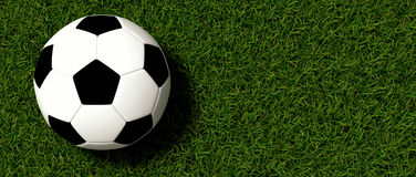 Soccer ball on grass. Soccer ball sitting on grassy field Royalty Free Stock Photography
