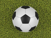 Soccer ball on a grass field background. High quality rendering vector illustration