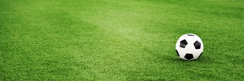 Soccer ball on grass field Stock Image