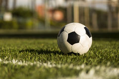 Soccer ball on a grass field. Royalty Free Stock Image