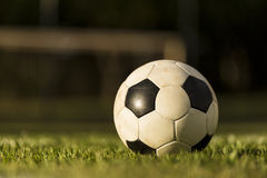 Soccer ball on a grass field. stock photography