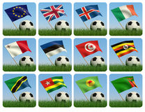 Soccer ball in the grass and the flag. 3d. Soccer ball in the grass and the flag against the blue sky. 3d Stock Photos