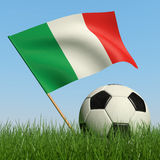 Soccer ball in the grass and flag of Italy. Soccer ball in the grass and the flag of Italy against the blue sky. 3d Stock Image