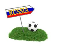 Soccer ball on grass with the flag of Russia. 3d rendering Royalty Free Stock Image