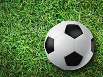 Soccer ball on grass floor. 3d creative Stock Photo