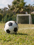 Soccer ball in grass on green field near five-a-side goal. Black and white soccer ball in grass on outdoor green field near five-a-side goal Stock Image