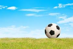 Soccer ball on grass sky background. Soccer ball on green grass sky background stock photo