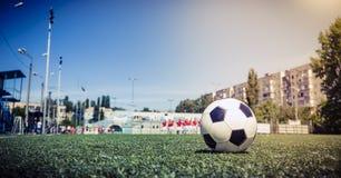 Soccer ball on grass in soccer stadium