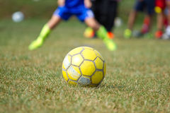 Soccer ball on the grass Royalty Free Stock Images