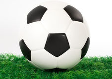 Soccer ball on grass Royalty Free Stock Photo