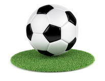 Soccer ball on grass. On white background. 3d rendering illustration Royalty Free Stock Images