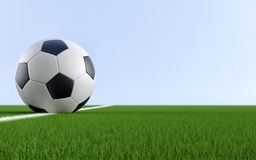 Soccer ball on grass. Soccer ball on the white line of a soccer field - 3D Rendering - Copy space on the right side Royalty Free Stock Photos