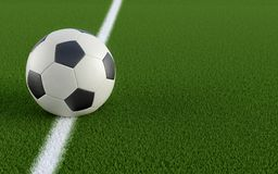 Soccer ball on grass. Soccer ball on the white line of a soccer field - 3D Rendering - Text space on the right side Stock Photos