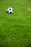 Soccer Ball On A Grassy Field. Photo Of A Soccer Ball On A Grassy Field Royalty Free Stock Photo