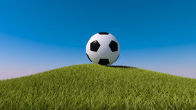 Soccer ball on a grassy hill. 3d render Royalty Free Stock Image
