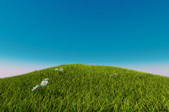 Soccer ball on a grassy hill. 3d render Stock Photos