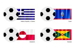 Soccer Ball with Greece, Guam, Greenland and Grena Royalty Free Stock Photography