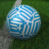 Soccer Ball with Greek Flag Royalty Free Stock Images