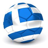 Soccer Ball With Greek Flag 3D Render Stock Photos