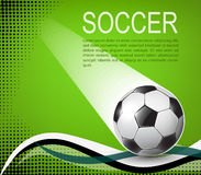 Soccer ball on green background with black halftones Royalty Free Stock Photography