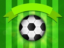 Soccer ball on green background poster design with place for text Stock Photo