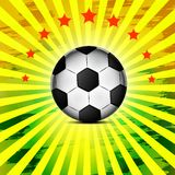 Soccer ball on green background poster design with place for text Royalty Free Stock Photos