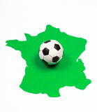 Soccer ball on green contour France Royalty Free Stock Photo