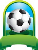 Soccer ball in green display Stock Image