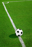 Soccer ball on green field. In the morning Royalty Free Stock Image