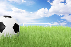 Soccer ball on green field Royalty Free Stock Images