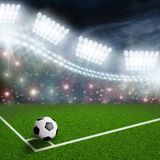 Soccer ball on the green field Royalty Free Stock Image