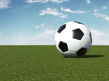 Soccer ball on green field stock illustration