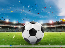 Soccer ball on green field. 3d rendering soccer ball on green field with blue sky Stock Photography
