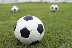 Soccer ball on green field Royalty Free Stock Image
