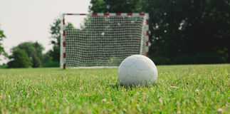 Soccer ball on the green field Stock Photography