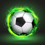 Soccer ball in green flame. Illustration Royalty Free Stock Image