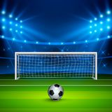 Soccer ball on green football field on stadium, arena in night illuminated bright spotlights. Vector illustration.  Royalty Free Stock Photo