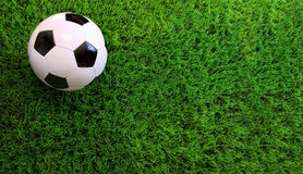 Soccer ball on green grass. Closeup of soccer ball on green grass royalty free stock photo
