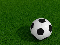 Soccer ball on green grass. With shadow vector illustration