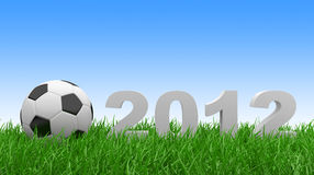 Soccer ball on green grass. 2012 Royalty Free Stock Image