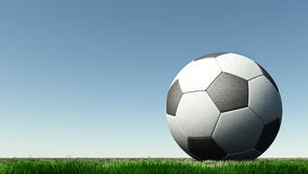 Soccer a ball on a green grass Royalty Free Stock Photography