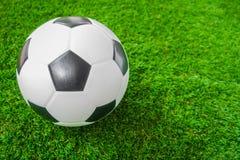 Soccer ball on green grass . Royalty Free Stock Photos