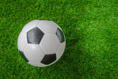 Soccer ball on green grass . Stock Images