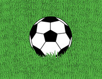 Soccer. Ball on the green grass background Royalty Free Stock Photography